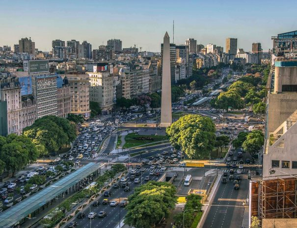 Buenos Aires, Argentina, - February. 20. 2016: Aerial view of Obelisco de Buenos Aires (Obelisk), historic monument and icon of city, in the Plaza de la Republica at avenues Corrientes and 9 de Julio, Buenos Aires