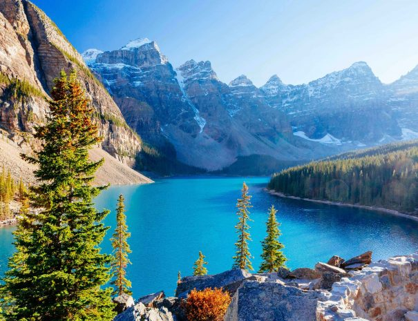 Moraine Lake is a glacially-fed lake in Banff National Park 14 km outside of Lake Louise, Alberta, Canada. It is situated in the Valley of the Ten Peaks, at an elevation of approximately 1885 m.