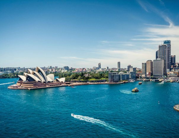 Sydney Opera House and Circular quay, ferry terminus, from the harbour bridge.