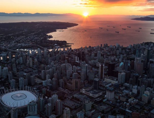 Aerial view of Downtown Vancouver during sunset.