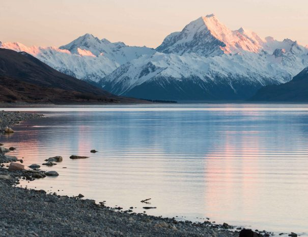 Mt.Cook lit by first rays of sun, New Zealand