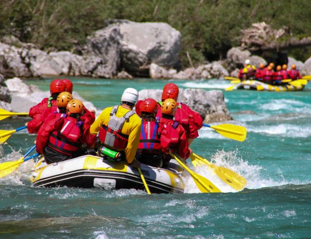 Whitewater rafting on So?a, the emerald river, Julian Alps, Triglav National Park.